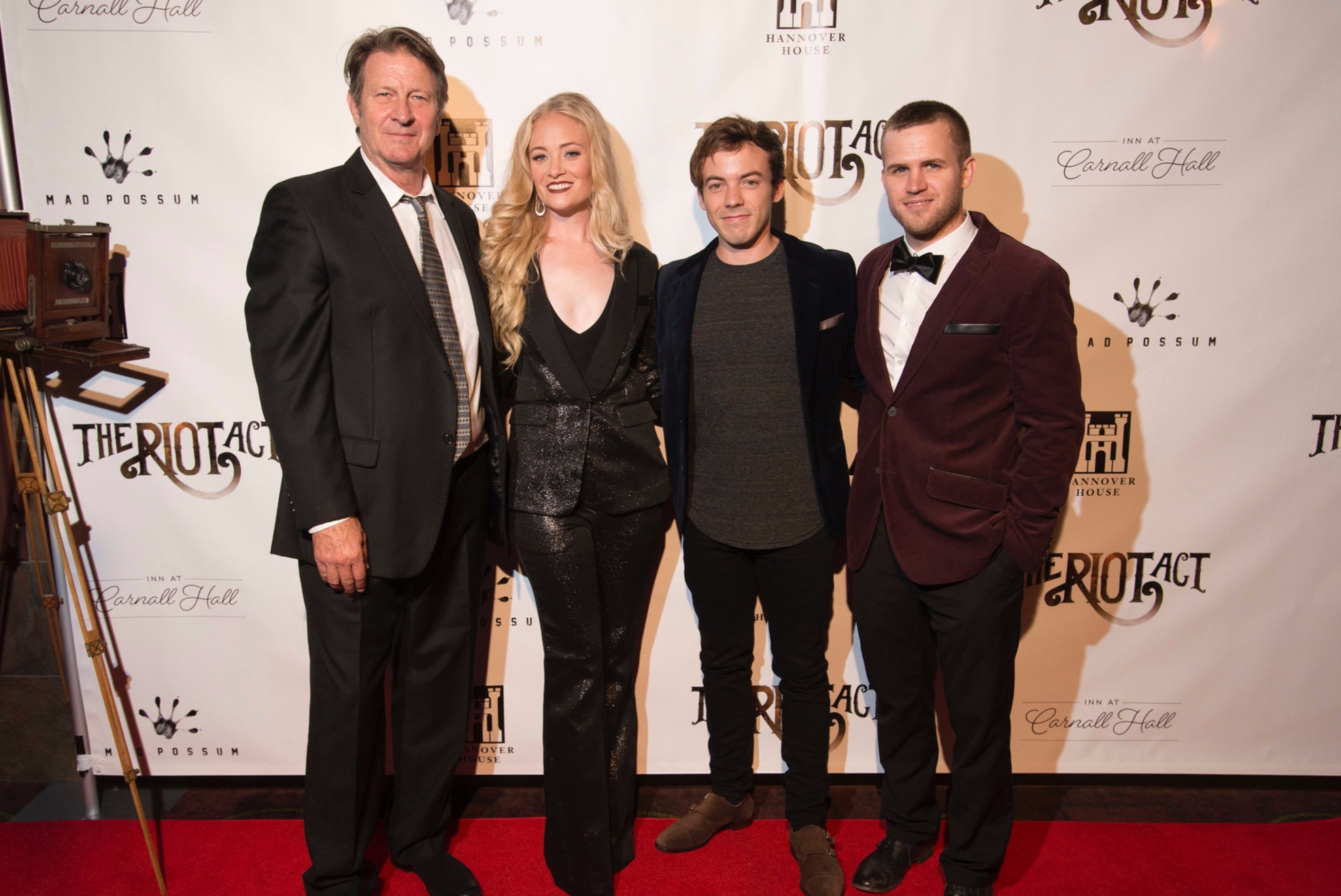 Brett Cullen, Lauren Sweetser, Connor Price, and Devon Parks at the red carpet premiere of The Riot Act.