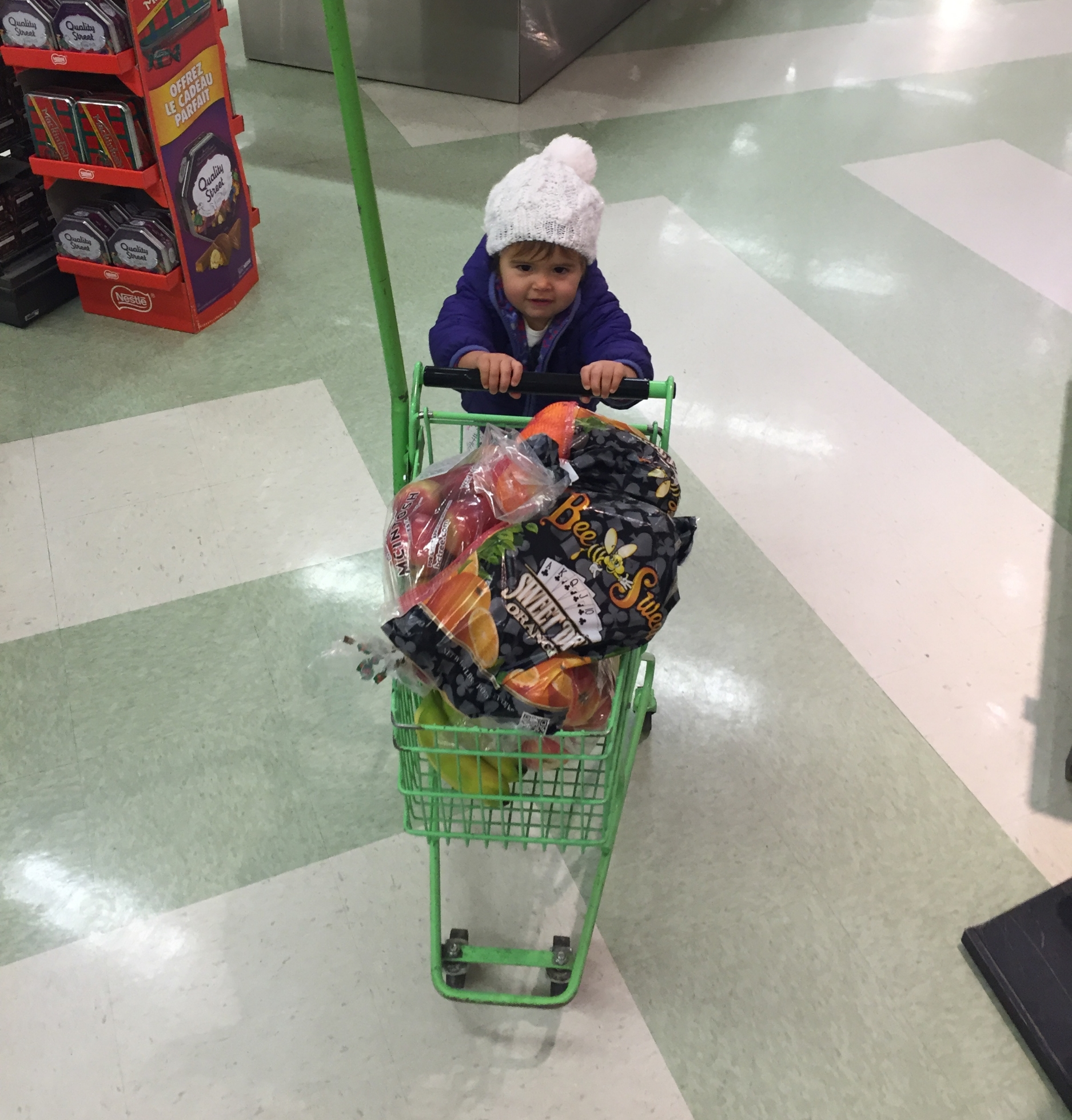 Fiona was a great help shopping the first time she tried the cart. The second time, she caught on to the fact that anything could be taken off the shelf and put into said cart, which was not so helpful.