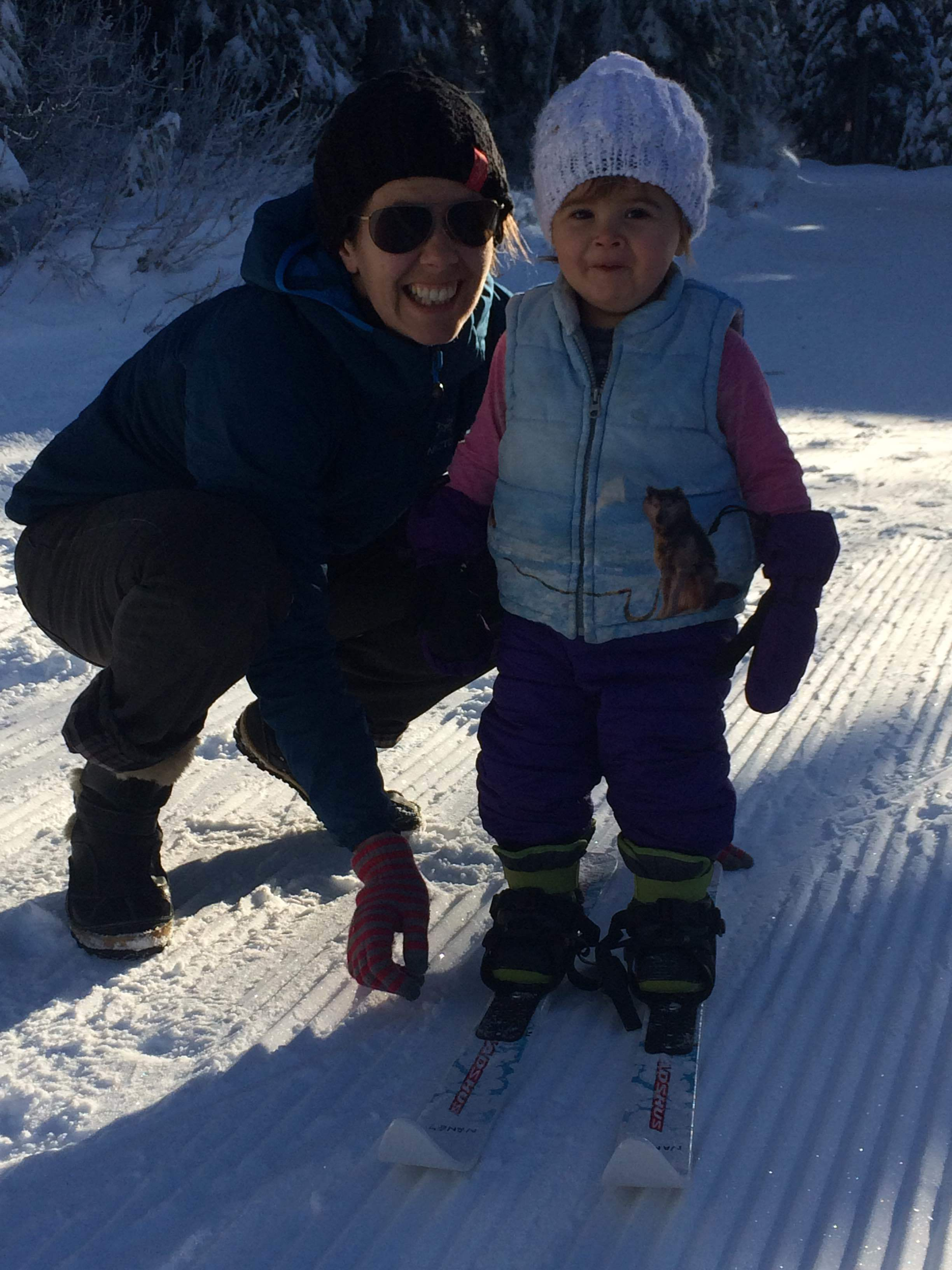 I figured getting Fiona to stand on her skis would be a win, but she was a champ!