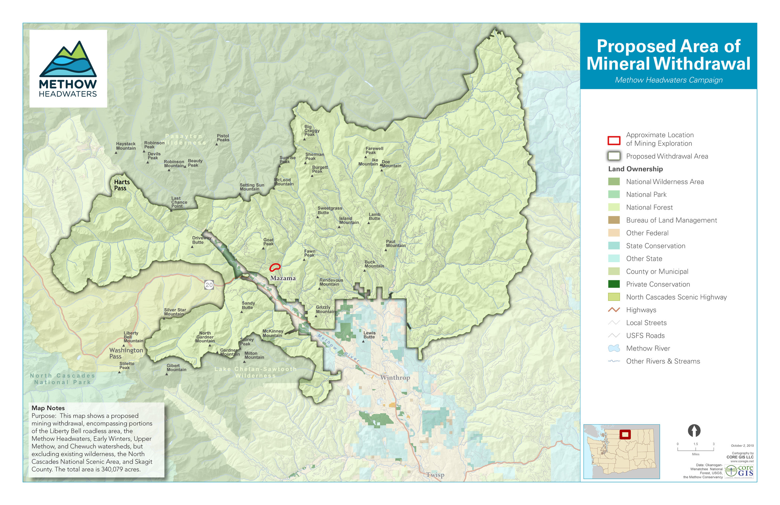 Map of headwaters area, used with permission by  Methow Headwaters .