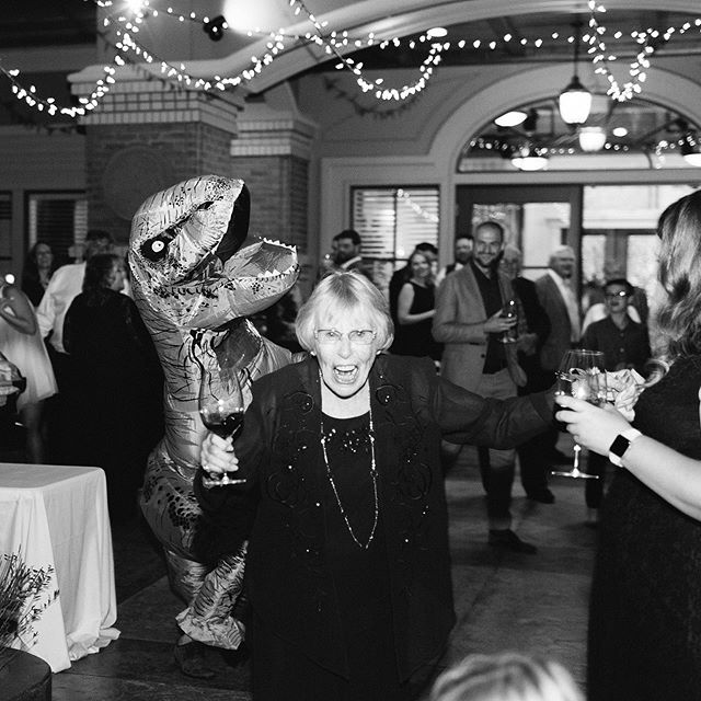 That one time a T-REX crashed the reception. 😂 Grandma didn't know what was going on! He had sick dance moves too. 🦖