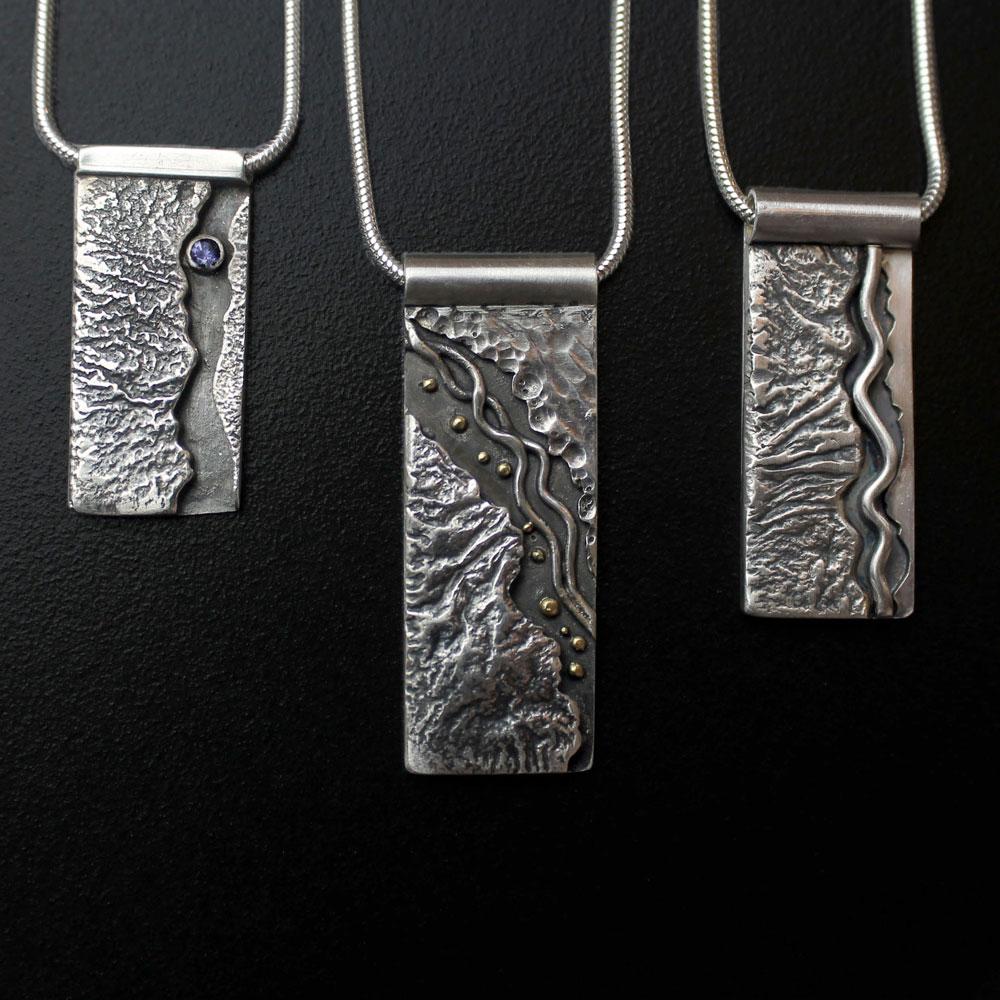 Textured Mountain Pendants