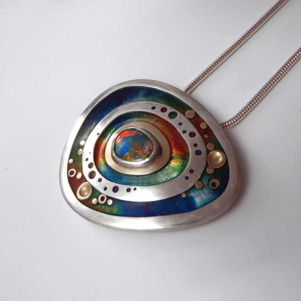 Rainbow Opal Pendant by Abi Cochran