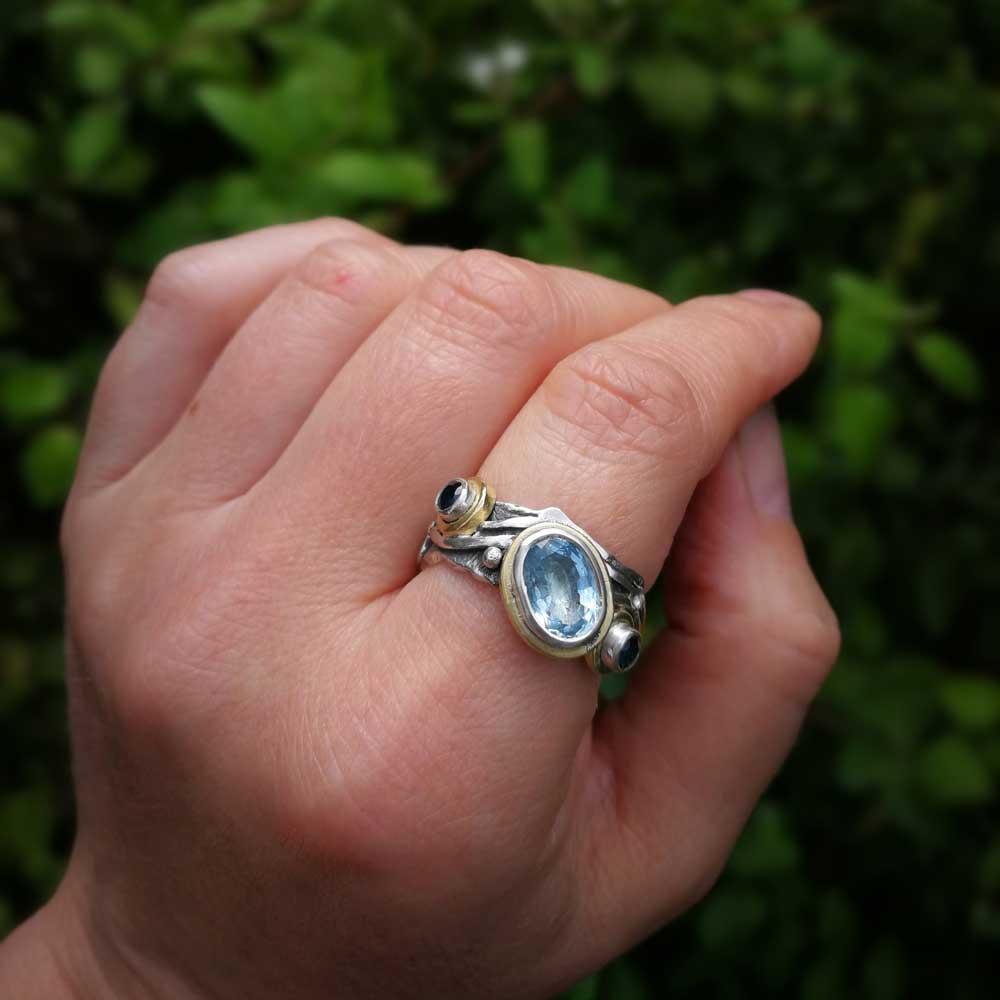 Aqua & Sapphire ring