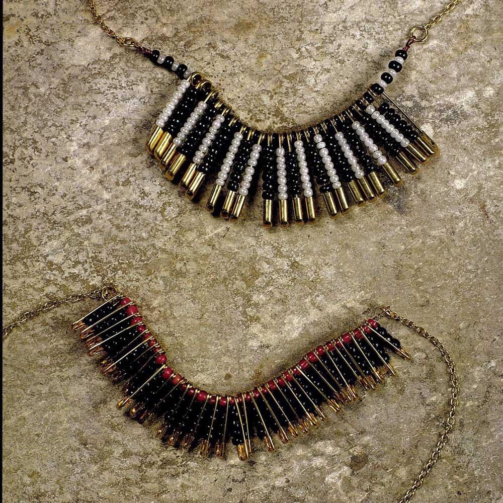 Safety pin necklaces circa 1990