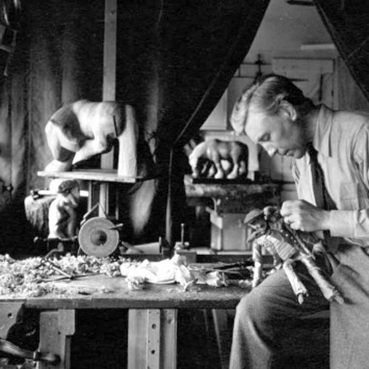 William in his Oakridge workshop carving a puppet, photo by his assistant Catherine Cobb