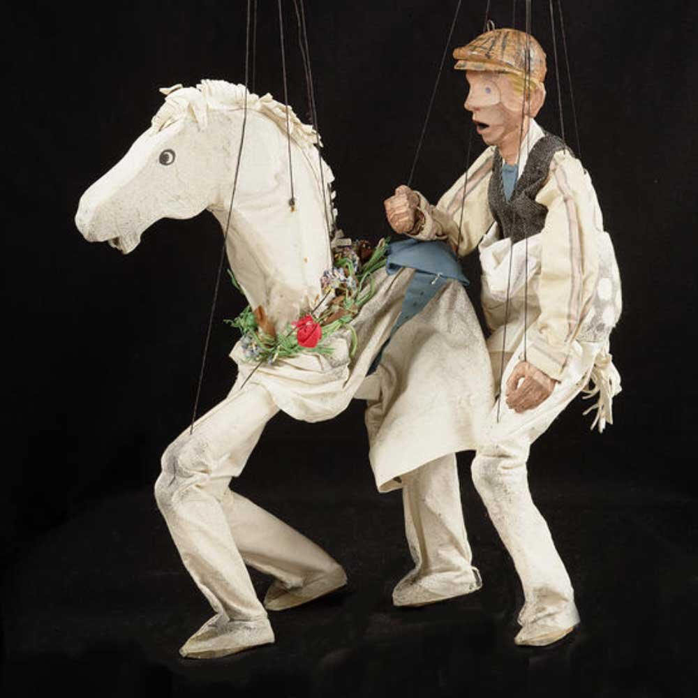 Pantomime horse by William Simmonds. String puppet owned by Crafts Study Centre.