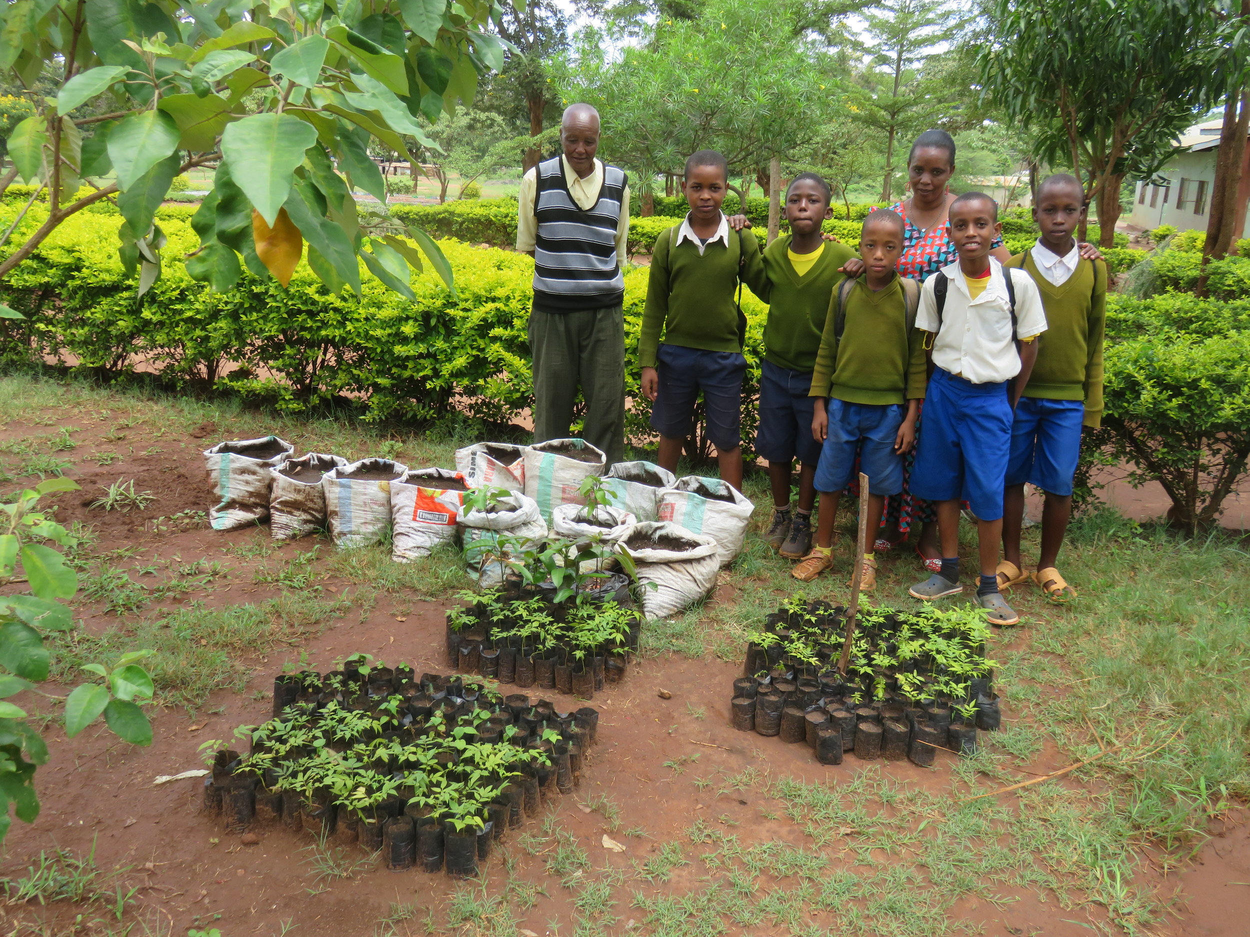 Darajani Primary School students showing off their trees