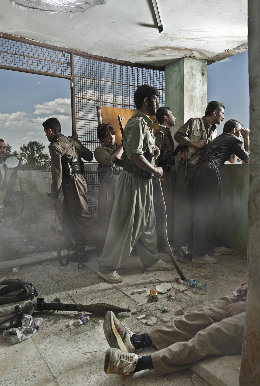 Emeric Lhuisset. Theater of war. photographs with a group of Iranien Kurdish guerrilla. Lambda Durst. 115 x 170cm. Iraq. 2012.jpg