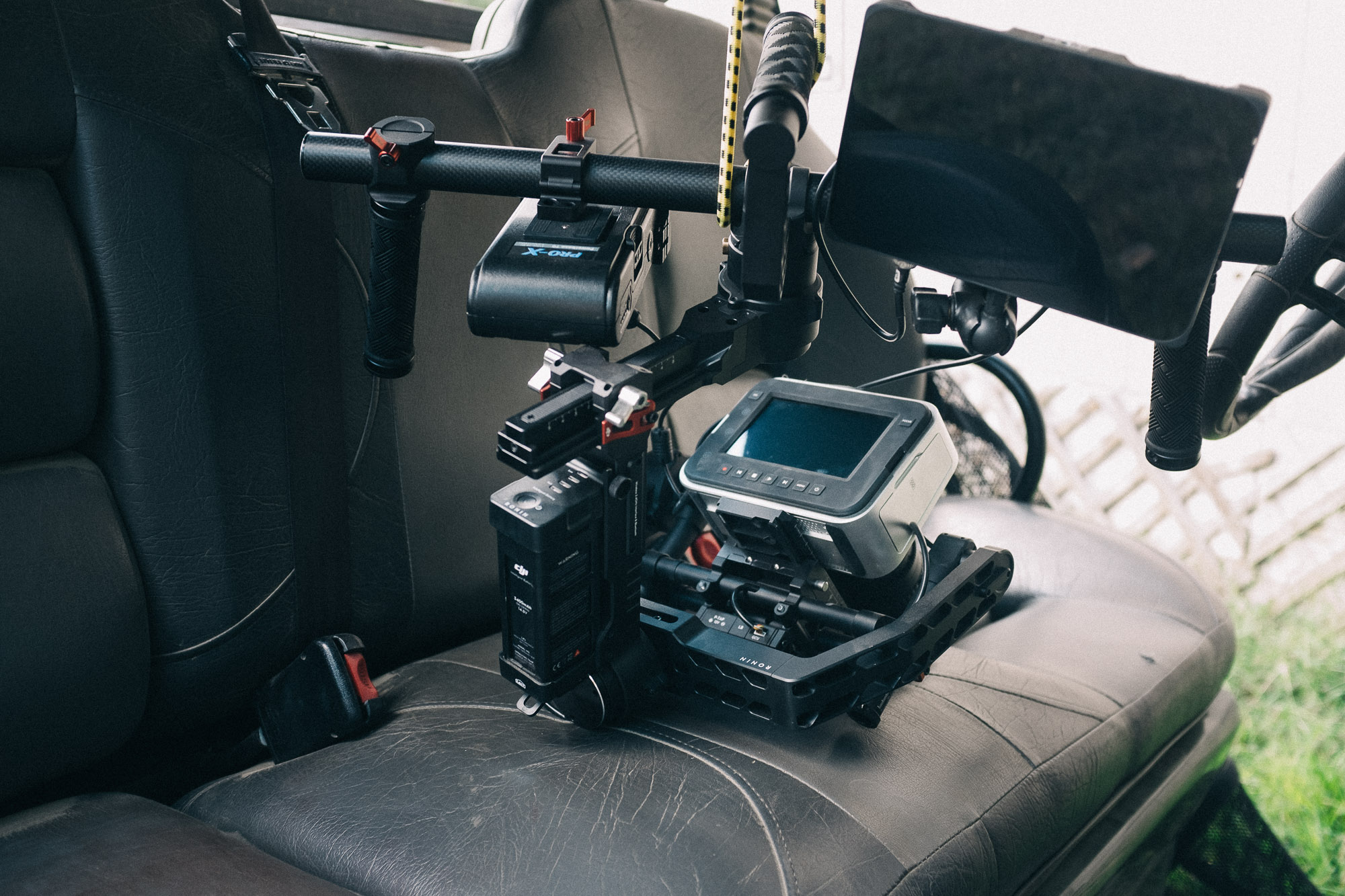 We rigged the Blackmagic Cinema Camera on the DJI Ronin to the UTV with bungee cords. Amazing stabilization!