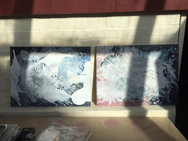 The 18 x 24 canvases side by side in the sun, with shadows.