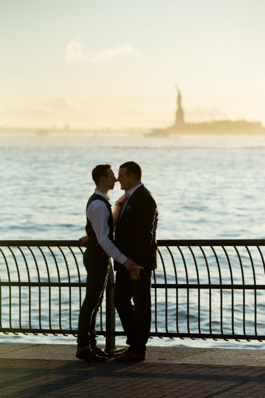 Michael and Scott - engagement pics in Battery Park at Pier A