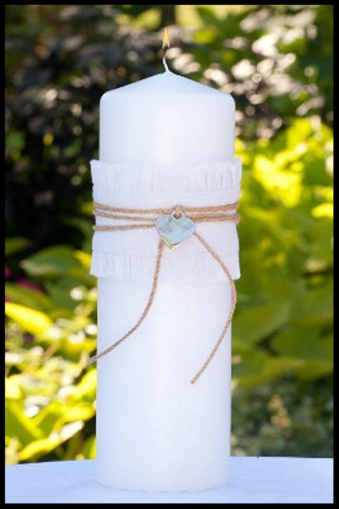 $42.95 Unity Candle with Twine and Heart Charm Accents