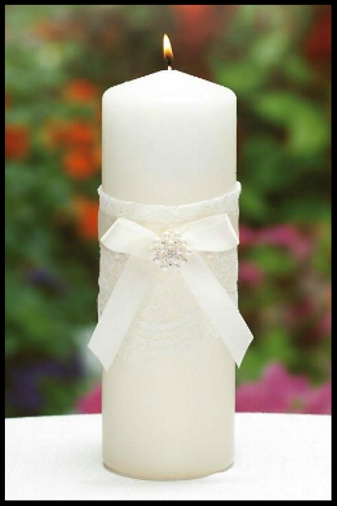 $42.99 Unity Candle with Satin Bow, Rhinestone and Pearl Accents