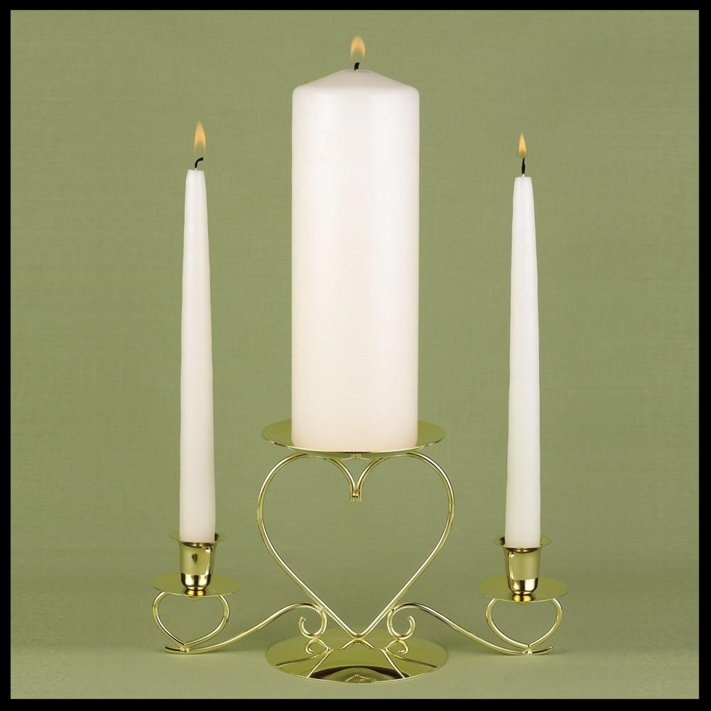 Basic Ivory Unity Candle and Two Ivory Tapers