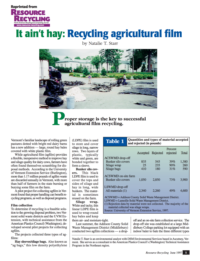 It Ain't Hay: Recycling Agricultural Film   (pdf 4MB)    Natalie T. Starr     Resource Recycling   , June 1997