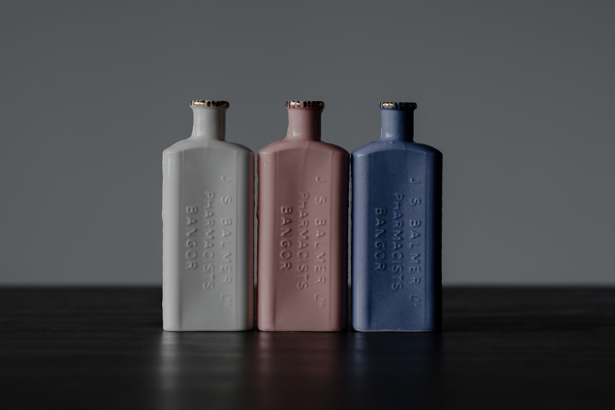 Introducing the Bangor Bottles, cast from a mould of a gorgeous rectangular pharmacist bottle, if only our medicine still came like this.