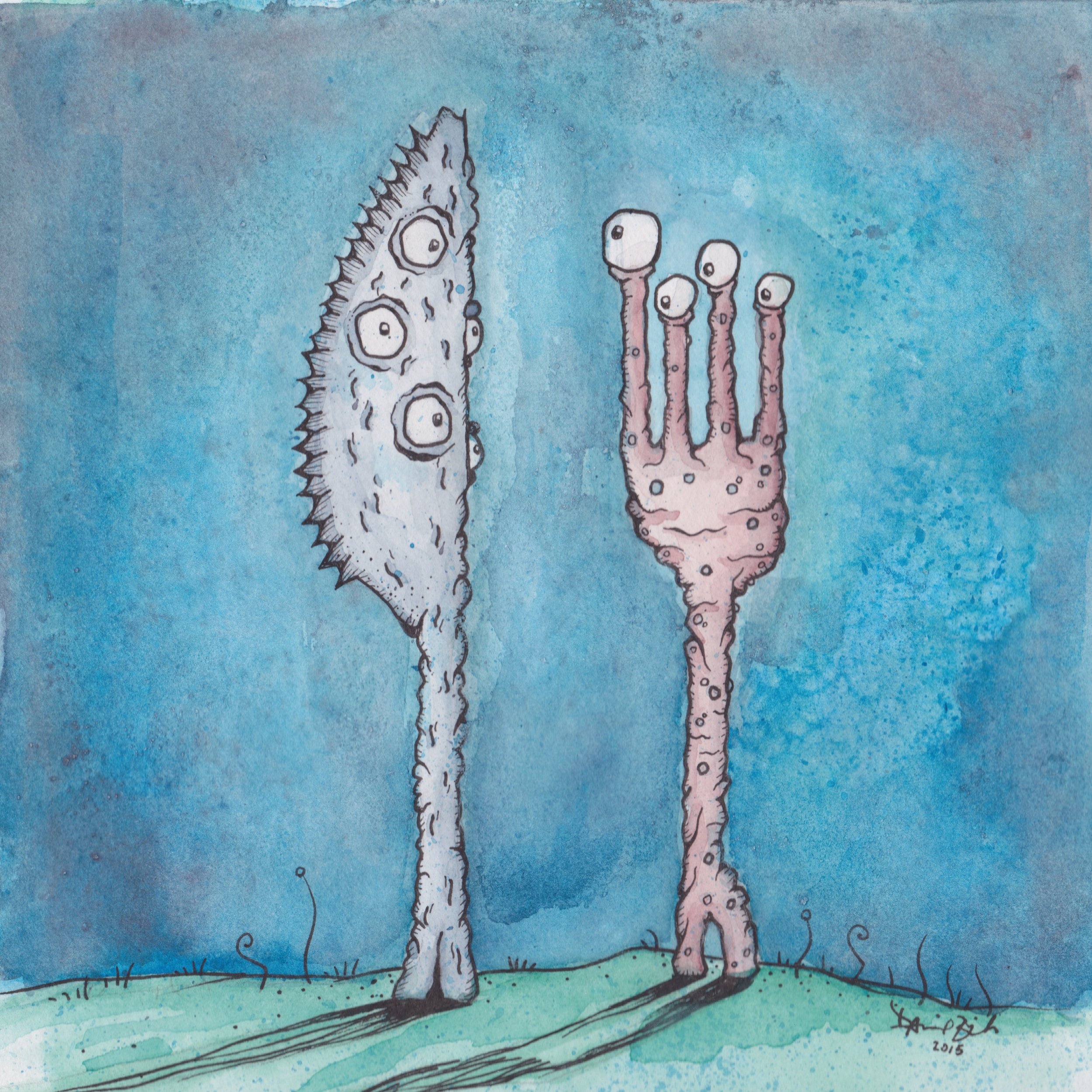 """Monster Knife and Monster Fork; 8""""x8"""" watercolor and ink on cold press paper."""