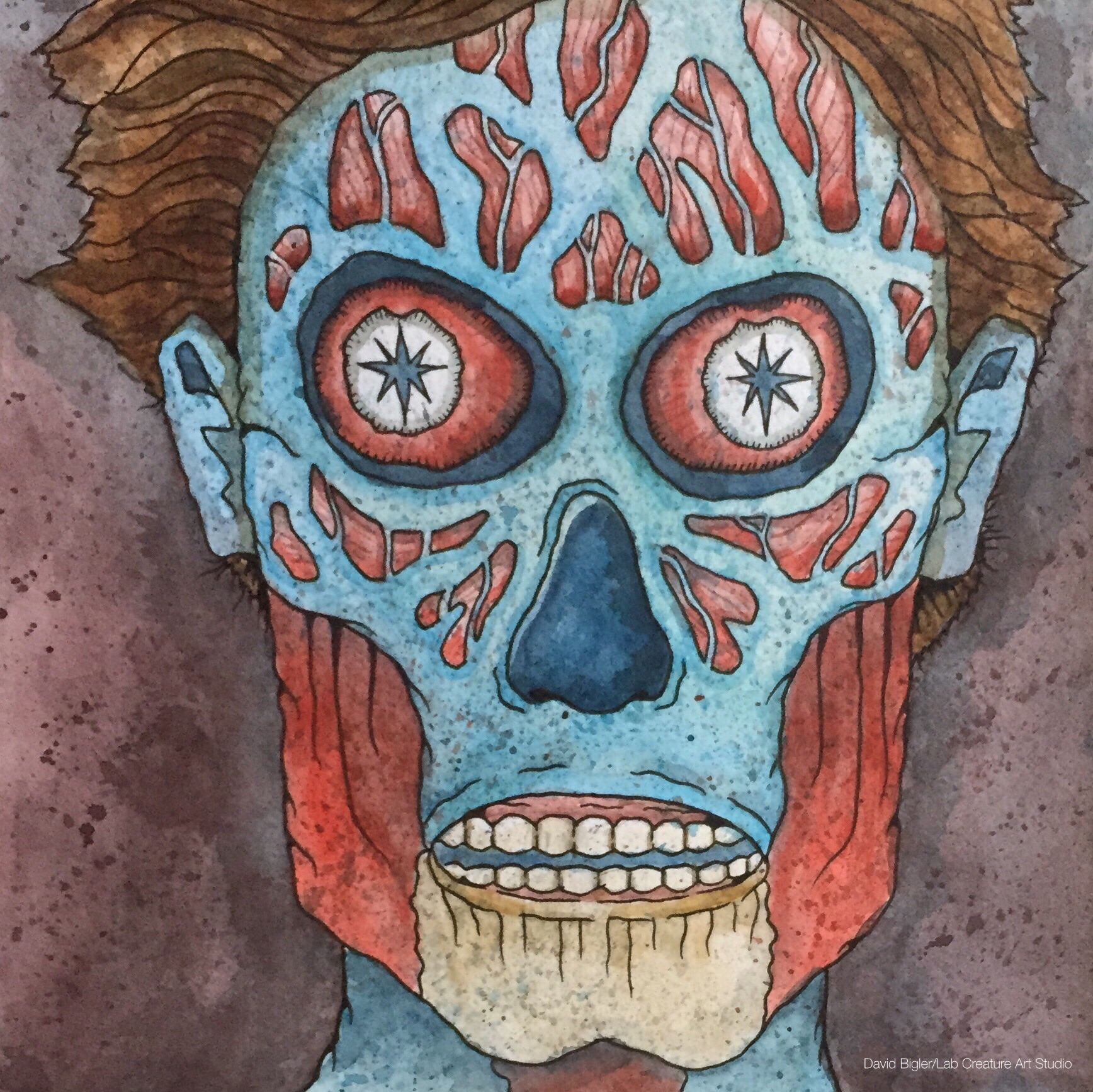 """THEY LIVE WE SLEEP -  8""""x8"""" watercolor and ink on cold press paper."""