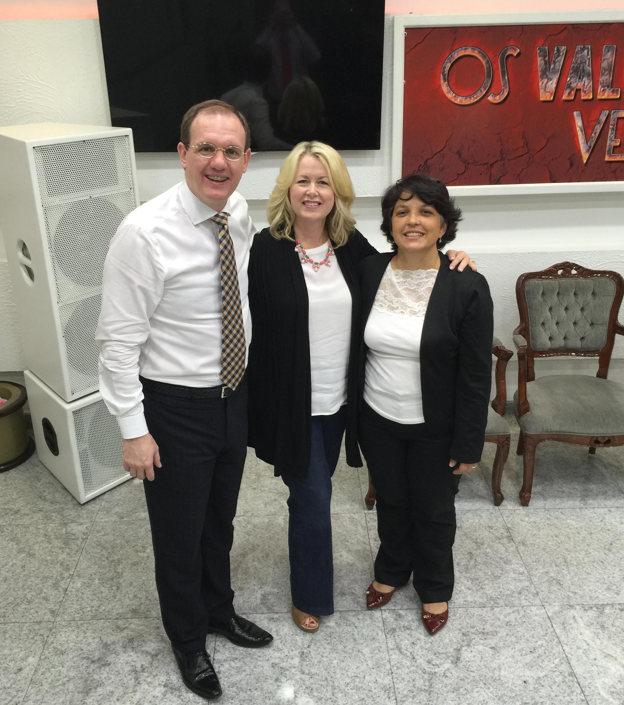 With Pastor Fabricio Bortoleto and Daniela Barros, Igreja do Evangelho Quadrangular, Piracicaba, Sao Paulo, Brazil