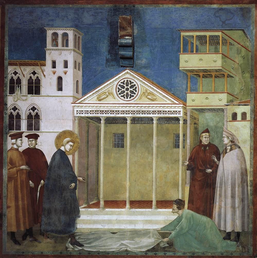 Giotto di Bondone,  Legend of Saint Francis, Homage of a Simple Man , c. 1300.  the-athenaeum.org