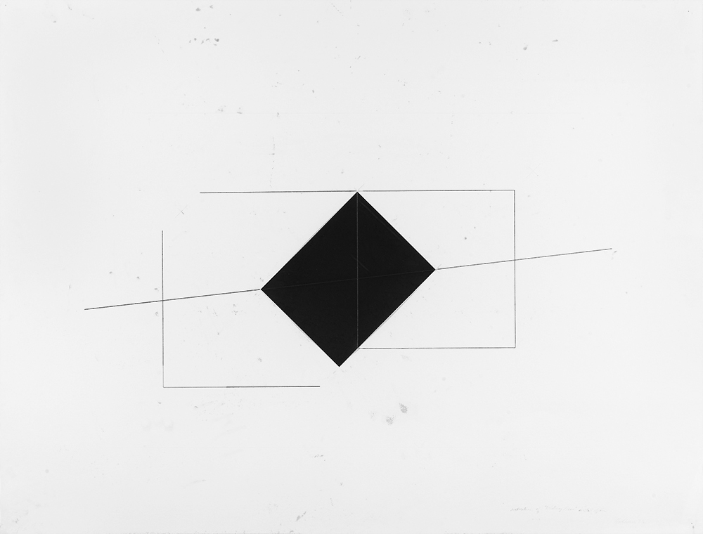 Dorothea Rockburne,  Indication of Whitney Piece Installation , 1973, carbon paper and carbon lines on paper, 50 x 38 in. © Dorothea Rockburne / Artists Rights Society (ARS), NY. Courtesy the artist.