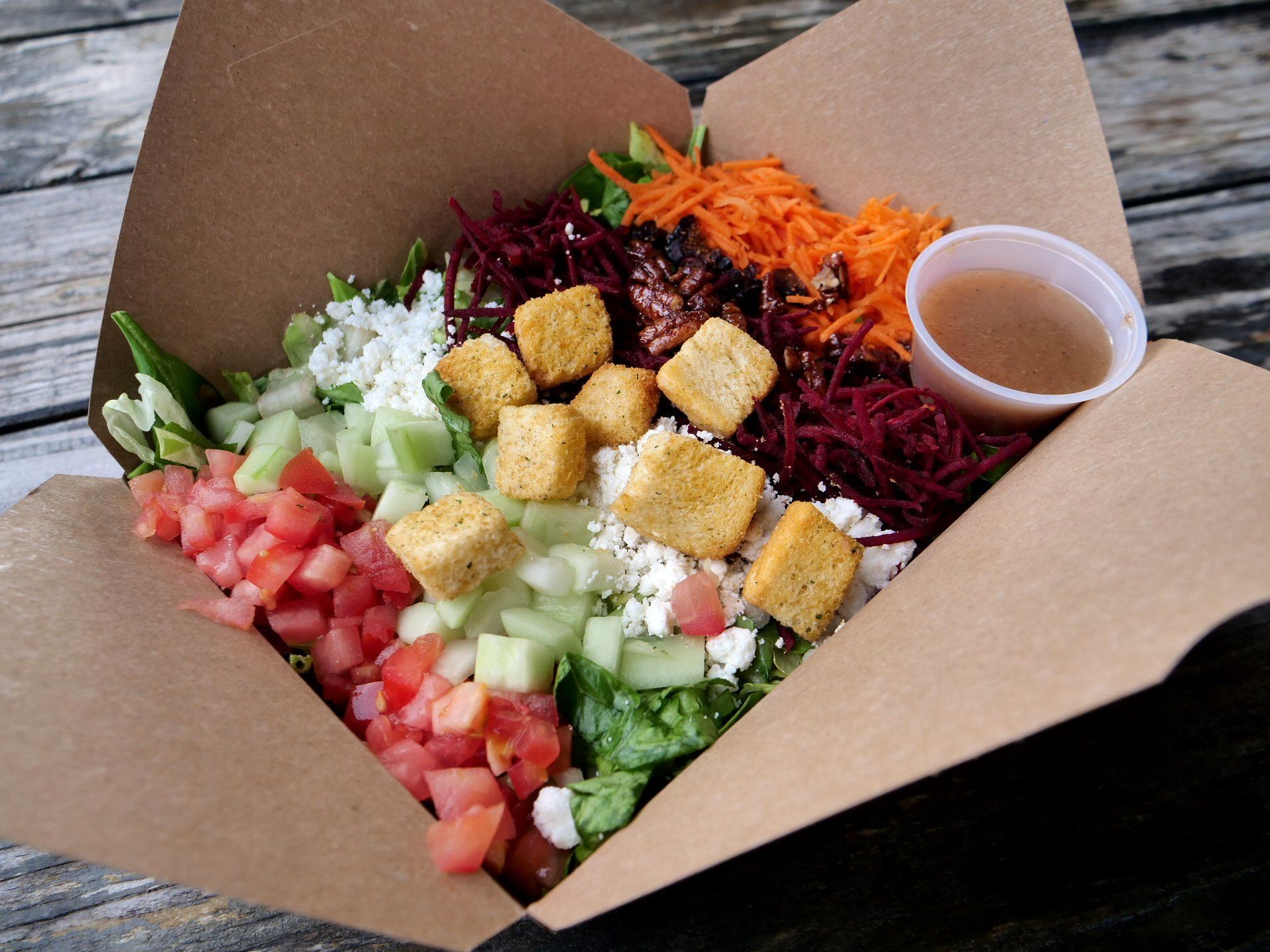 Our salads are a perfect gluten-free option. Just ask for it  without the croutons , your choice of protein, and enjoy!