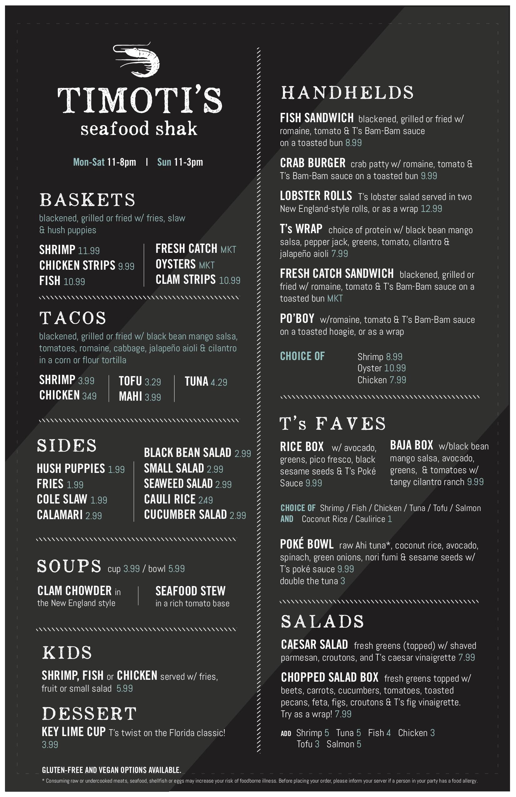 timotis new menu