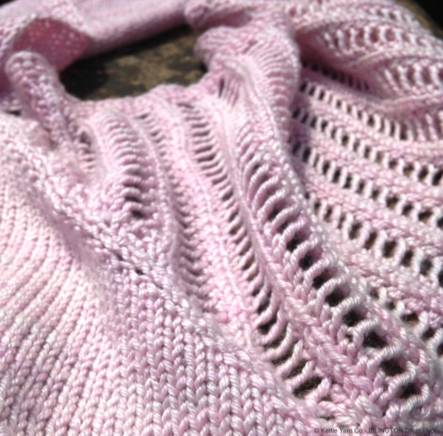 "Bagatelle Cowl in Islington DK in ""Peony"", image copyright 2015 Juju Vail for Kettle Yarn Co."