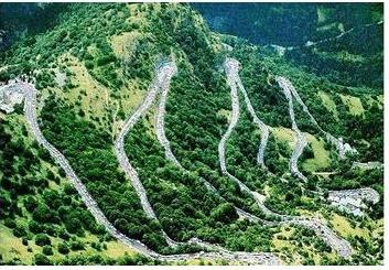 Some of the 21 hairpin turns of Alpe d'Huez