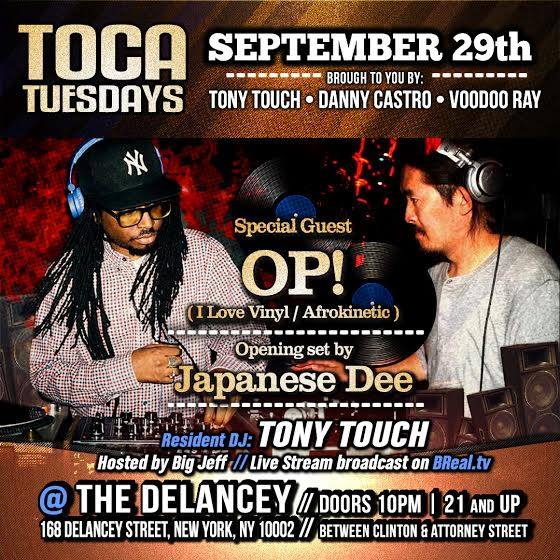 September 29, 2015    Special guest DJs OP! (Afrokinetic / I Love Vinyl) & Japanese Dee     Hip-Hop, Soul, Funk, Reggae, Disco, R&B, House    At The Delancey    168 Delancey St. (between Clinton St. & Attorney St.)    Doors open at 10pm