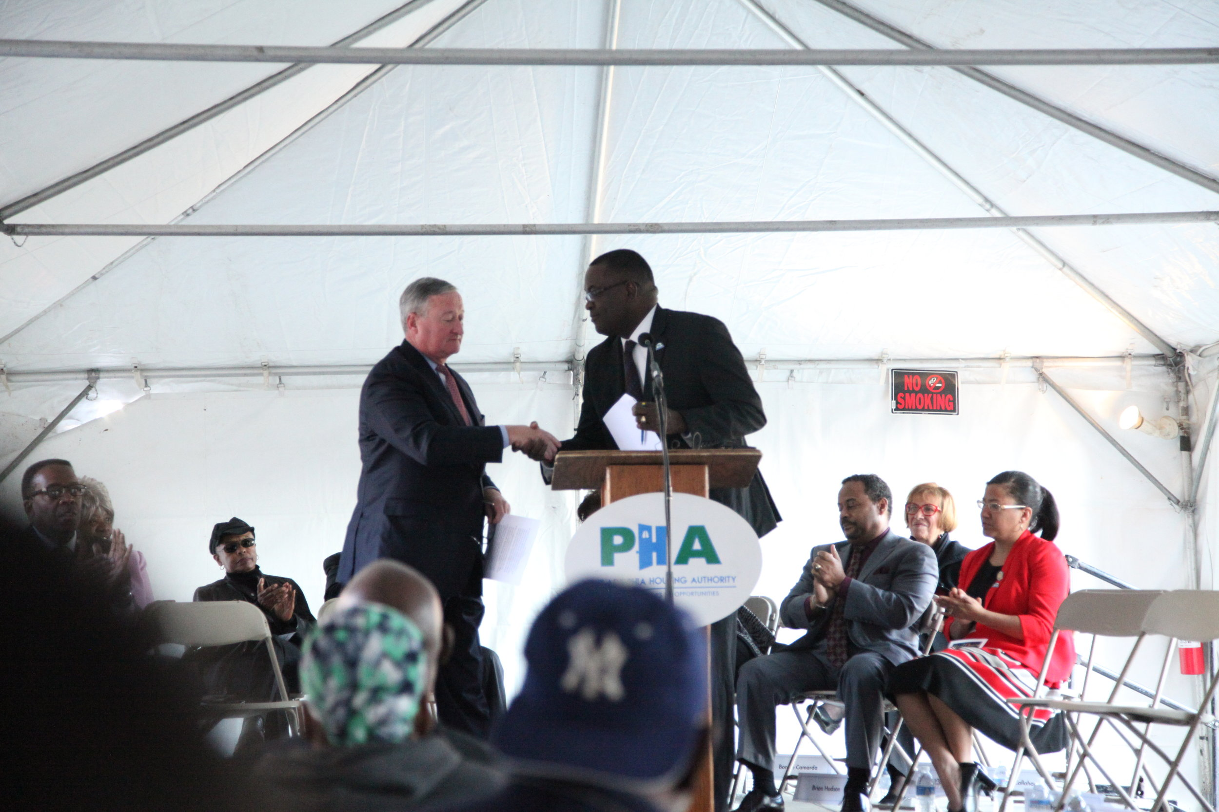 Mayor Jim Kenney shakes hands with PHA President & CEO, Kelvin Jeremiah