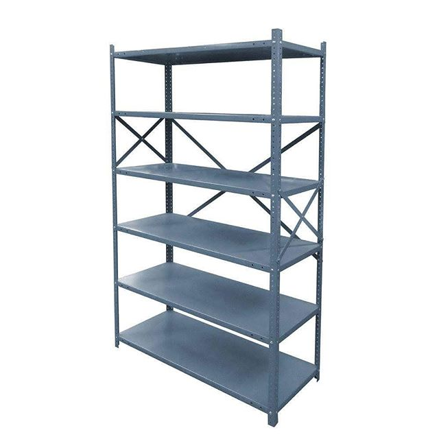 Metal Shelving Unit: SE100  Model Number - Color - Measurement: SE100 - Gray Finish (Metal) - 41.5W x 17.5D x 72H  #MetroOfficeFurnitureRental #shelving #unit #shelvingunit #furniture #metal #measurements #rental #nyc #grey #greyfinish #shelves #metro #metal #event #office #style #classic #quality #specialevents #classy #available