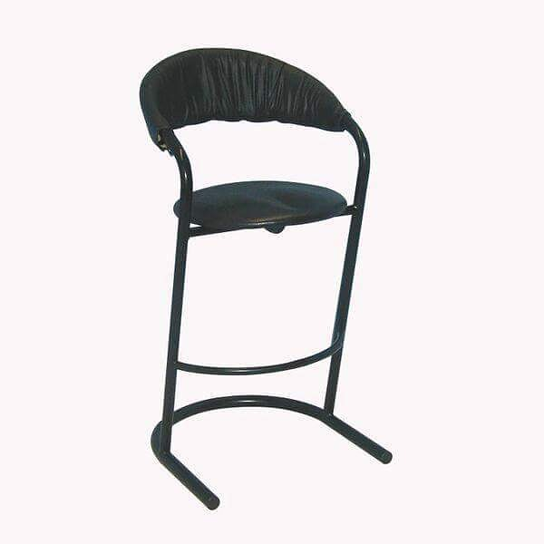 Bar Stool: Banana Back - SB204 Model Number - Color: - SB204 - Black (Leather)  #MetroOfficeFurnitureRental #barstool #rooftopbar #rooftop #bar #chair #stool #curves #cushion #banana #back #bananaback #furniture #rental #nyc #black #event #office #party #style #classic #chique #quality #specialevents