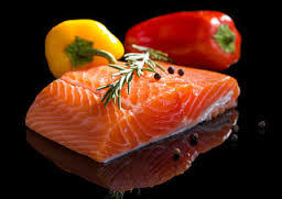 Salmon with Red and Orange Vegetables