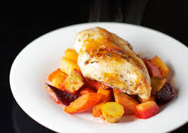 Roasted Chicken and Roots with Apricot