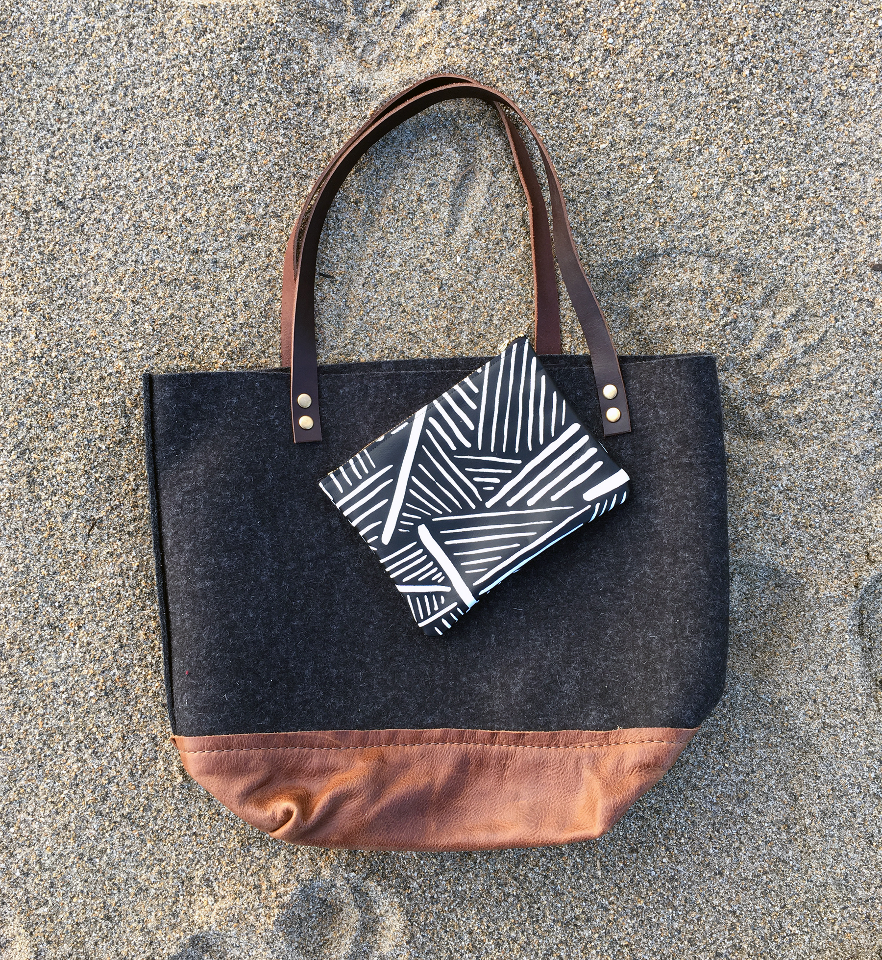 thread & paper felt tote & leather pouch.jpg