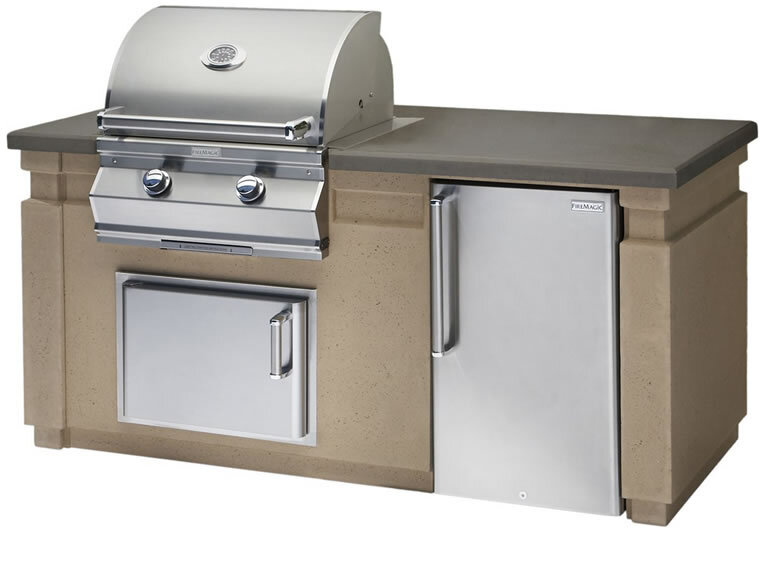 Fire Magic Grill Island Package - Fire Magic Aurora Grill inserted in an Island Cafe Base, including a Fire Magic Fridge. Two Echelon Single Access DoorsInventory closeout $XXX (1 in stock)