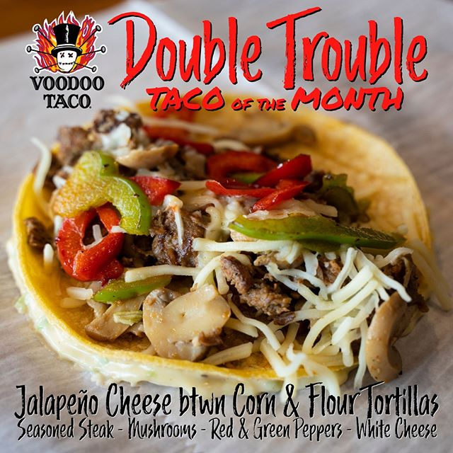 Today's the last day you can get our May Taco of the Month! Come get your hands and mouth on the Double Trouble before it's gone for good. Any guesses what the June Taco of the Month will be? Let us know in the comments and stay tuned for our announcement tomorrow!