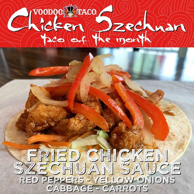 BAM! It's the first of June, which means the new Taco of the Month should be on your plate. This is the Chicken Szechuan Taco! Delicious chicken is covered in tangy Szechuan sauce, red bell peppers, yellow onions, cabbage, and carrots.  Sorry, I just drooled on my keyboard. See you soon!