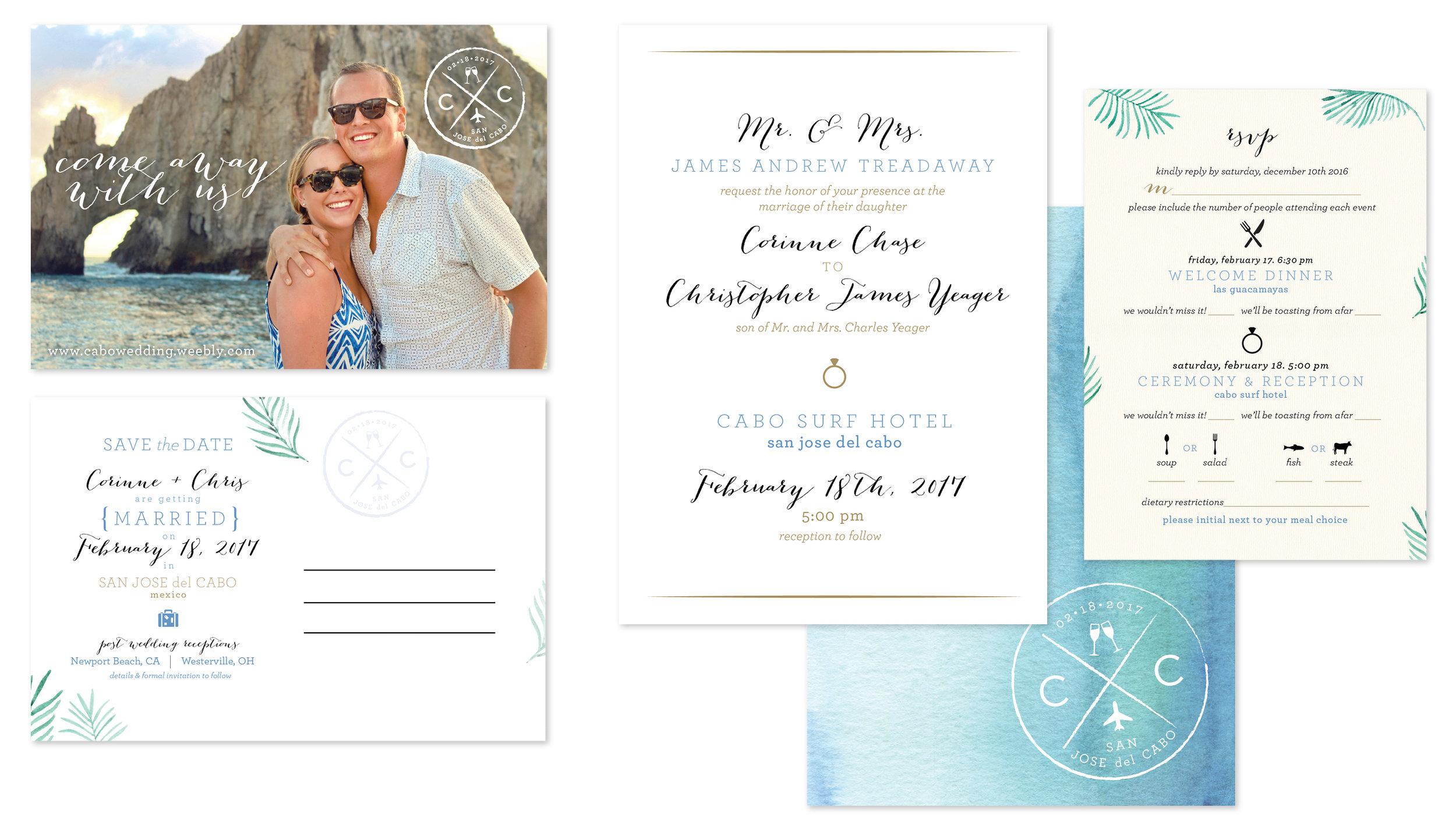 save the date, wedding invitation front & back, RSVP card