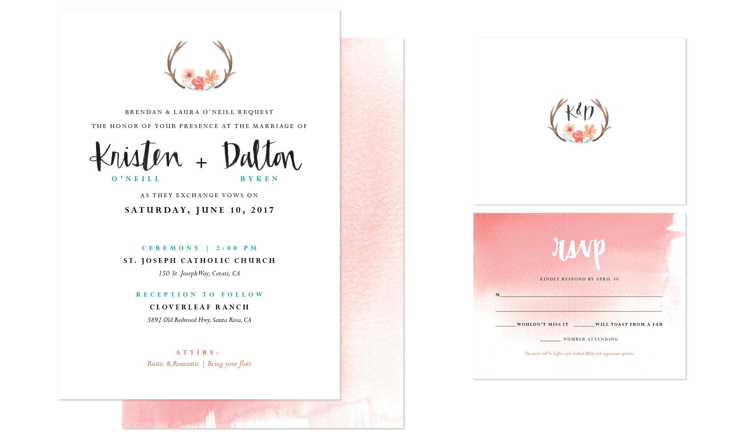 wedding invitation and RSVP card