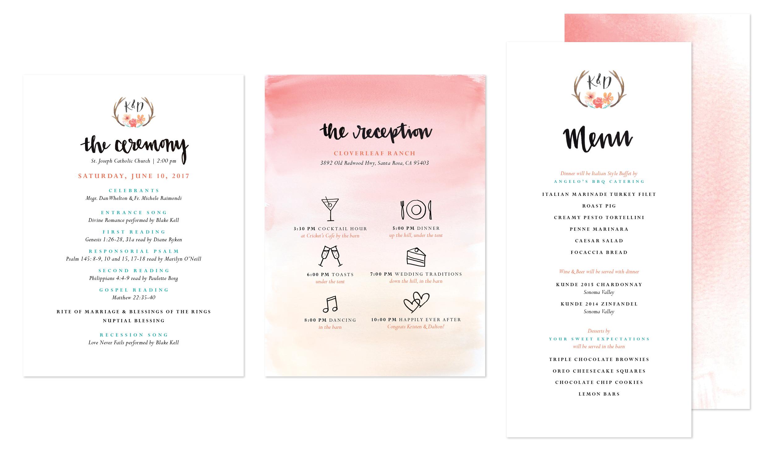 ceremony and reception program, menu