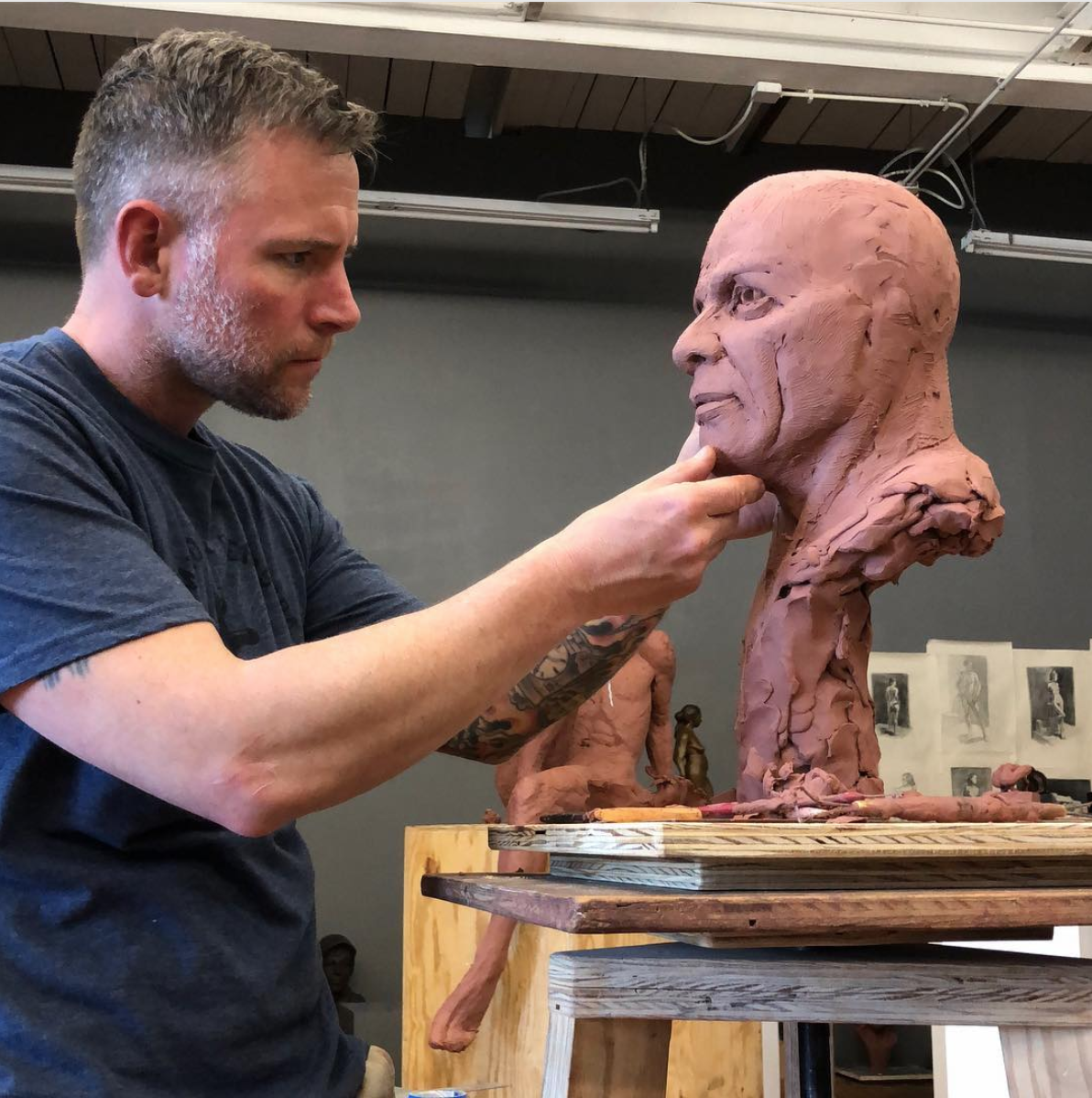 Working on getting all of the underlying structures right on this sculpt of Staff SGT. Ronald Le'ger before I add the beard.