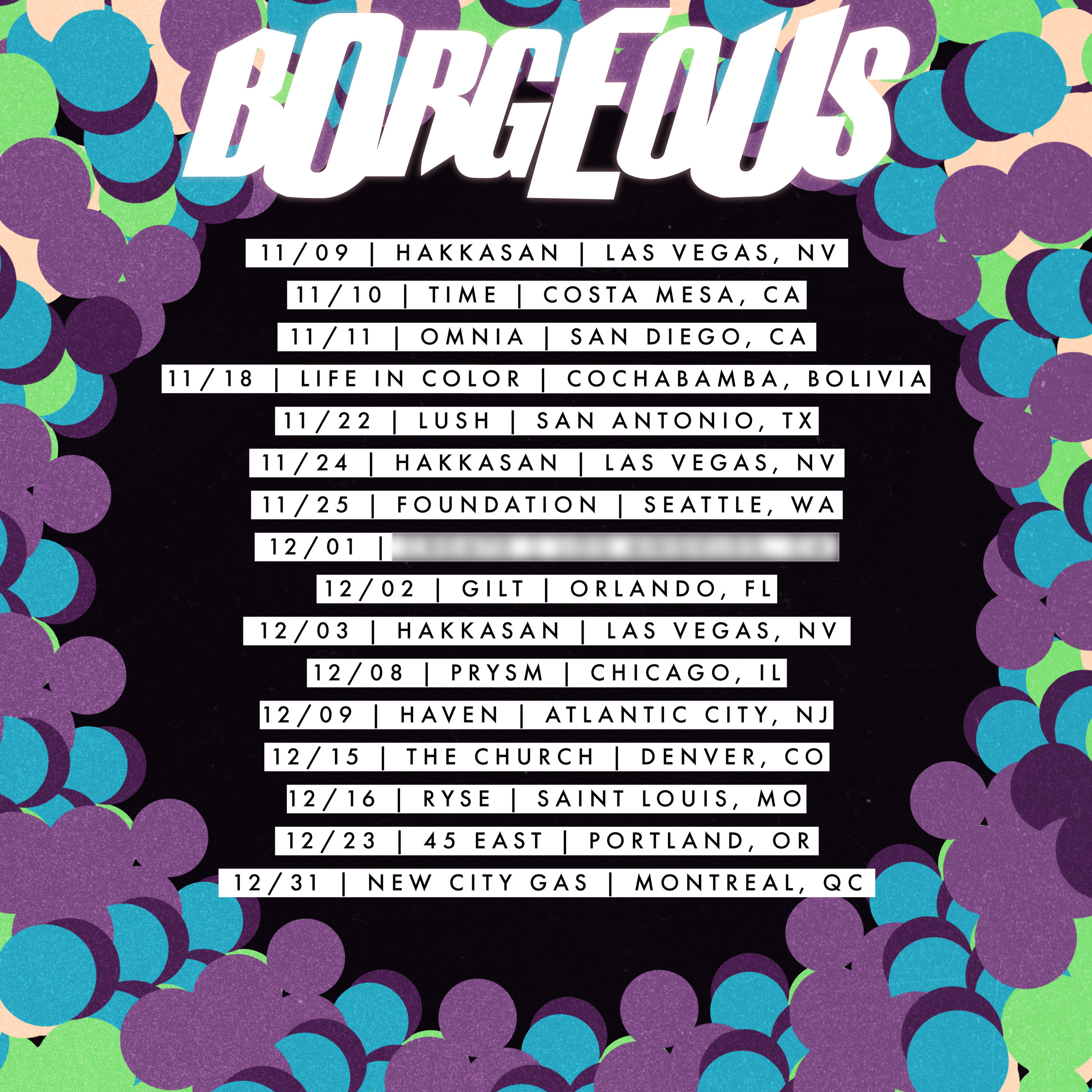 Borgeous, Winter 2017 Tour Admat