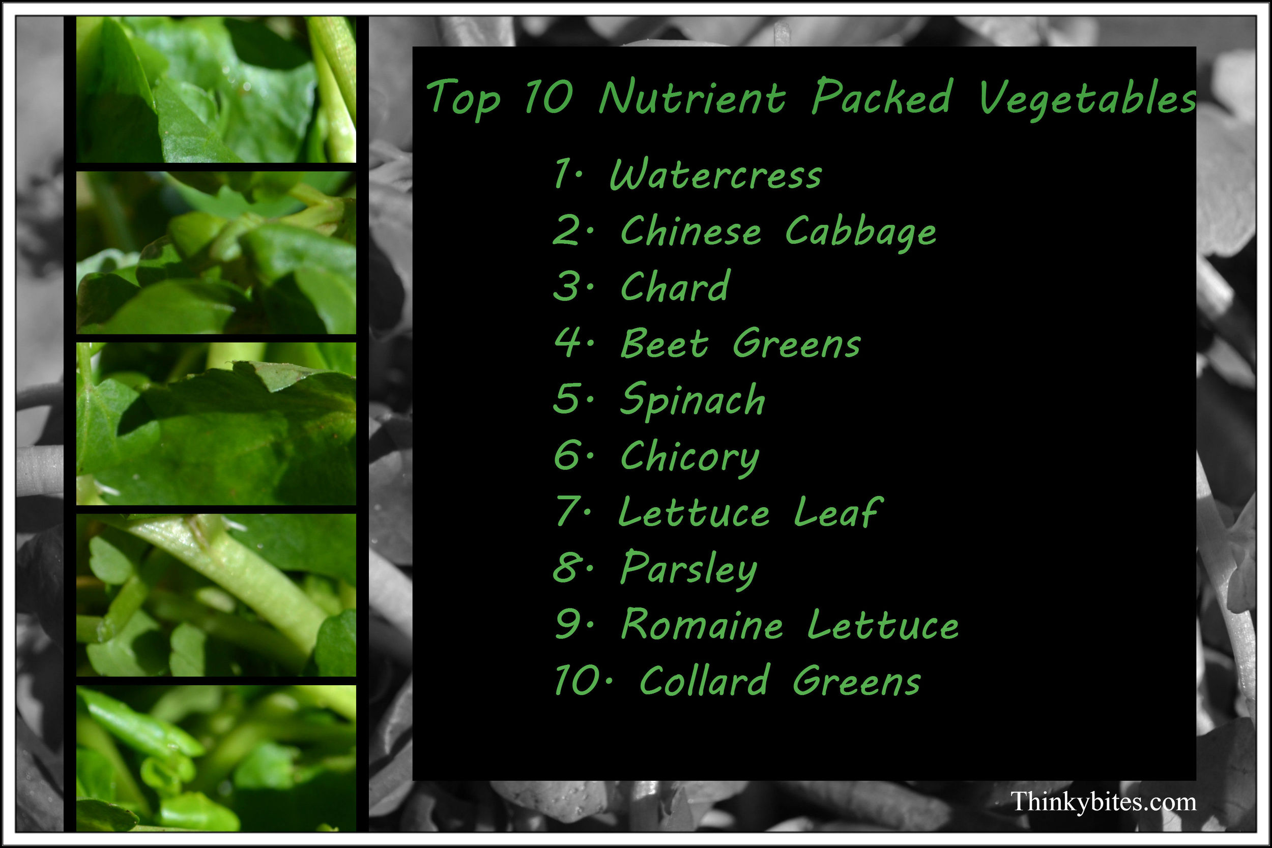 The colour green dominates the top 10 list of powerhouse fruits and vegetables. These 10 veggies packed in the greatest concentration of the 17 nutrients tested in the study.