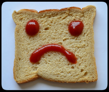 No food should be forbidden. Look how sad this piece of bread is when you totally exclude it from your life!