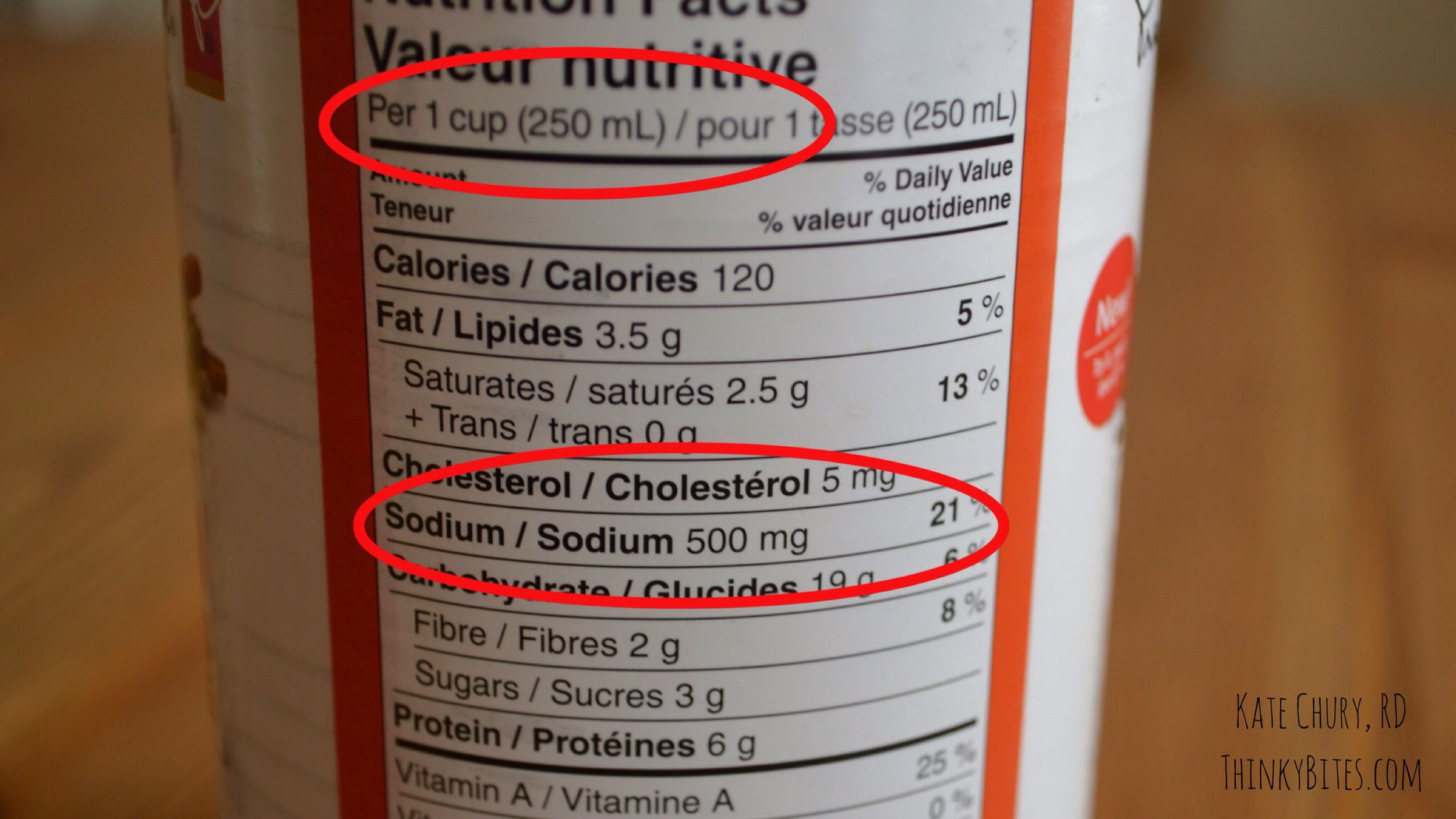 Product: Canned soup.  Sodium content: 21% DV in 1 cup of soup  Verdict:  High in sodium  The total volume of this can of soup is just over 2 cups and it is pretty common for one person to consume a whole can of tinned soup. This means someone could potentially get 1000 mg (or 42%) of the daily sodium allotment in one sitting.