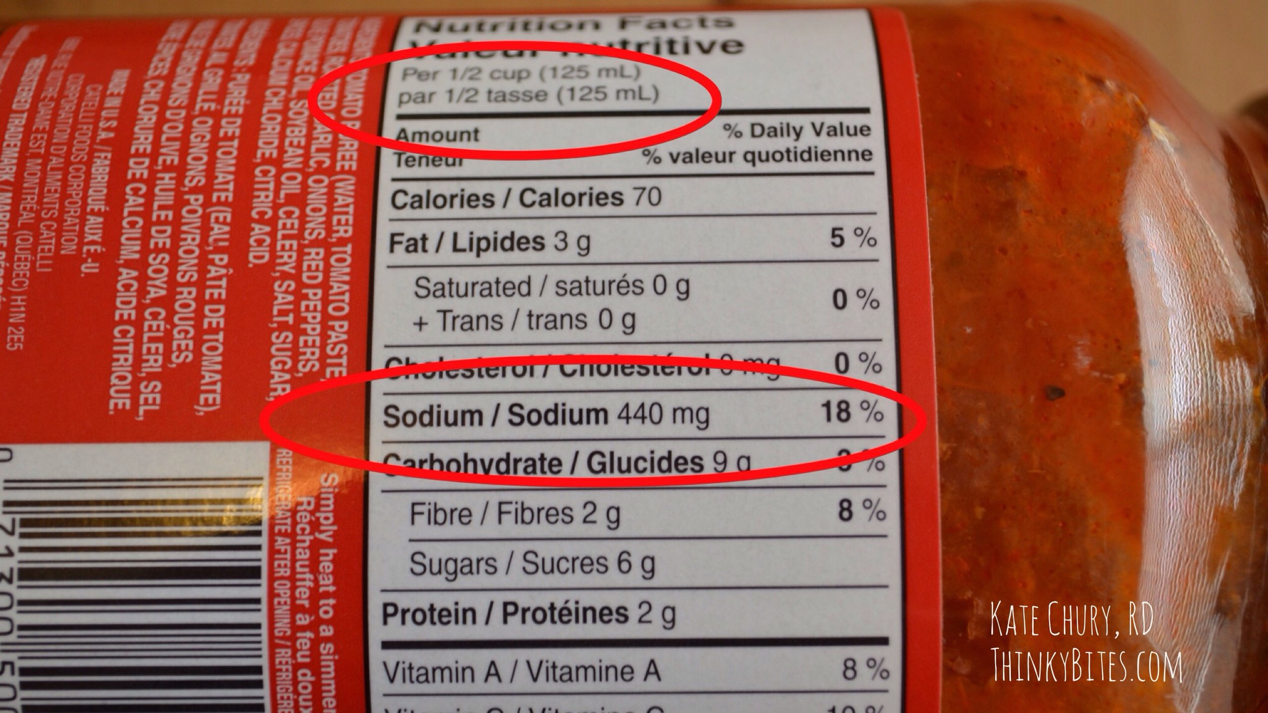 Product: Tomato sauce.  Sodium content: 18% Dv in 125 ml  Verdict: High in sodium.   It is very easy to have 2 or 3 of these 1/2 cup servings over top pasta which could equal 1/3 to 1/2 of the daily sodium allotment in one meal. There tends to be quite a bit of salt in pre-made pasta sauces.