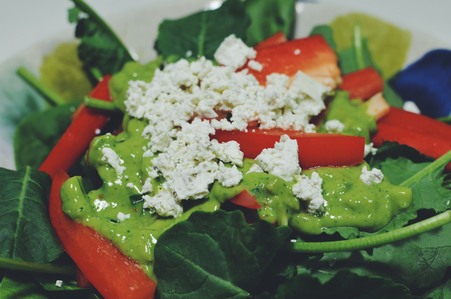 Baby spinach, baby kale, chopped red bell pepper, avocado dressing and goat cheese.